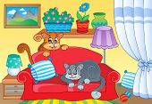 picture of sofa  - Room with two cats on sofa  - JPG