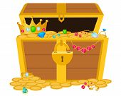 image of treasure chest  - Opened wooden chest with treasures - JPG