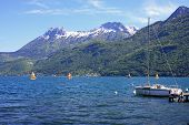 foto of annecy  - boat moored on Lake Annecy in France