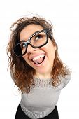 picture of geek  - Geek funny girl singing and looking sideways isolated on a white background - JPG