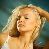 stock photo of hair blowing  - Holidays vacation travel and freedom concept - JPG
