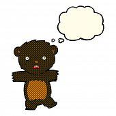 image of bear-cub  - cartoon shocked black bear cub with speech bubble - JPG