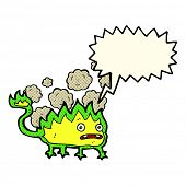 picture of demons  - cartoon little fire demon with speech bubble - JPG