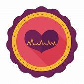 foto of ecg chart  - Ecg Heart Flat Icon With Long Shadow - JPG