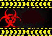 stock photo of hazard  - Bio Hazard Symbol Dirty Blood and blood splatter - JPG