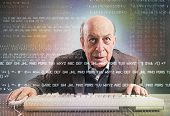 foto of nerd  - Elderly hacker nerd makes an antivirus test - JPG