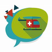 pic of rescue helicopter  - Medical Helicopter Flat Icon With Long Shadow - JPG