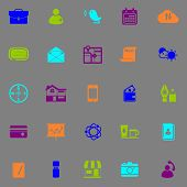 picture of fluorescence  - Mobile business fluorescent color icons stock vector - JPG