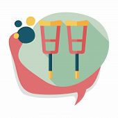 picture of crutch  - Crutch Flat Icon With Long Shadow - JPG