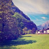 picture of italian alps  - The Town High up in the Italian Alps Retro Effect - JPG