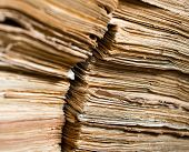 pic of manila paper  - Stack of the old paper documents in the archive - JPG