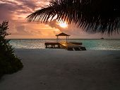 picture of jetties  - Small jetty on an atoll in Maldives - JPG