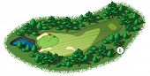 picture of hazardous  - Golf course layout with water hazard and trees and plants around - JPG