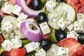 stock photo of greeks  - Greek salad close up shot Healthy food - JPG