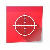 stock photo of crosshair  - Illustration of an isolated sticky note icon with a crosshair - JPG