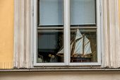 foto of historical ship  - ship model in a window icon for hobby - JPG