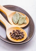 picture of bay leaf  - bay leaf and allspice on wooden spoon - JPG