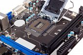 picture of processor socket  - Empty CPU processor socket with pins on motherboard - JPG