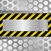 stock photo of plaque  - metallic plaque on warning background  - JPG