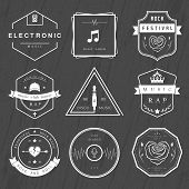 Постер, плакат: Vector Badges Rock Rap Classical And Disco Music