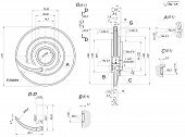 stock photo of degree  - Engineering sketch of wheel with blades - JPG