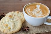 pic of hot-chocolate  - hot coffee and white chocolate macadamia cookie
