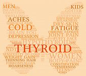 image of fibromyalgia  - Thyroid butterfly shaped word cloud on an orange background - JPG