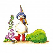 picture of duck  - Childish funny duck illustration with boots and umbrella - JPG
