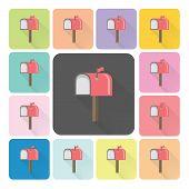 stock photo of mailbox  - Mailbox Icon color set vector illustration  - JPG
