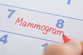 picture of mammography  - Person Hand With Mammogram Appointment Written On Calendar - JPG