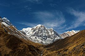 foto of sanskrit  - Annapurna South peack in the Nepal Himalaya  - JPG