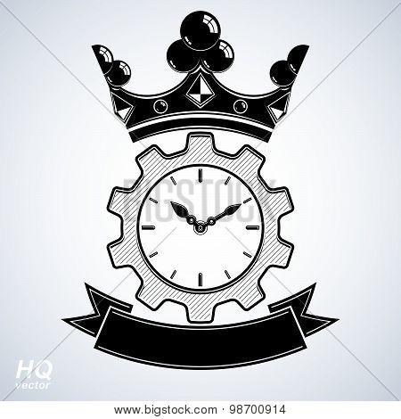 Vector retro cog wheel and clock with crown, business organizer symbol.