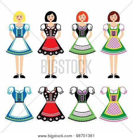 Women in Dirndl - traditional dress worn in Germany and Austria icons set