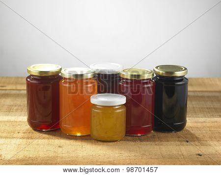hand made fruit jam on the old wooden table