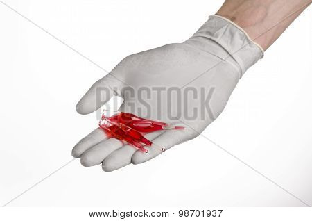 Doctor Hand Holding A Vial, Ampule Red, Vaccine Ampule, Ebola Vaccine, Flu Treatment, White Backgrou