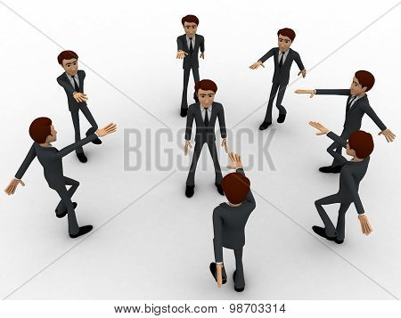 3D Man Team Taking Oath Concept