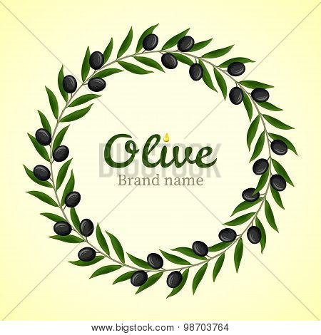 Black Olive Branches Wreath. Vector illustration