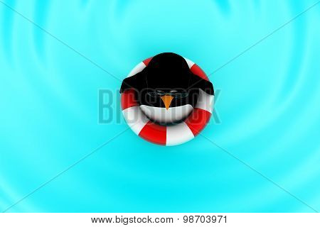 3D Penguin Floating On Water With The Help Of Rubber Ballon Concept