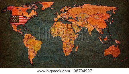 USA Territory On World Map