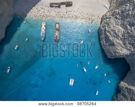Aerial View Of Navagio (shipwreck) Beach In Zakynthos, Navagio Beach Is A Popular Attraction Among T