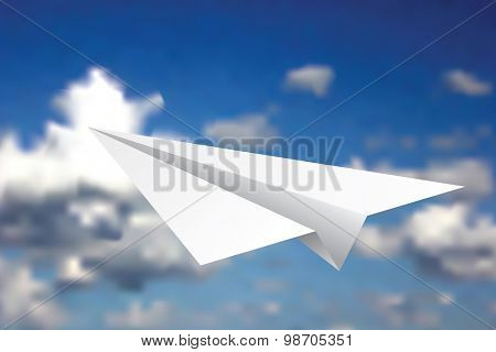 white paper plane in clouds, vector illustration