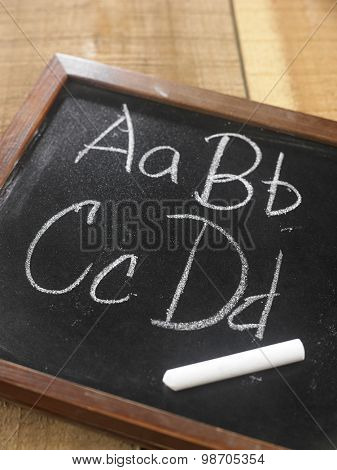 blackboard written a b c d