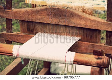 Retro Weaving Loom Taken Closeup.
