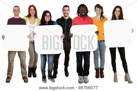 Group Of Young Multi Ethnic People Holding Copyspace For Four Letter Or Text