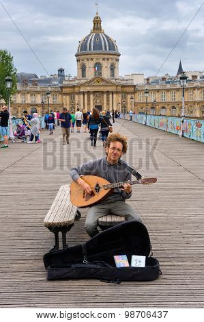 Musician on bridge