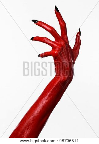 Red Devil's Hands, Red Hands Of Satan, Halloween Theme, White Background, Isolated
