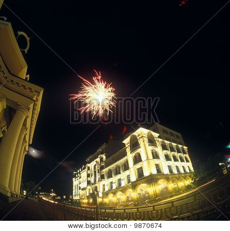 Fireworks Over A City.