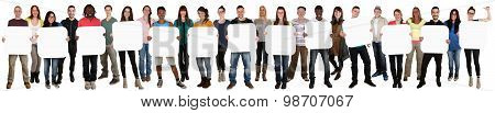 Group Of Young Multi Ethnic People Holding Copyspace For Thirteen Letter Or Text
