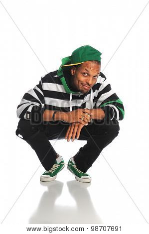 Young African American hip hop man isolated over white background