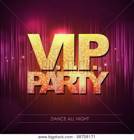 Typography Disco Background. V.i.p. Party